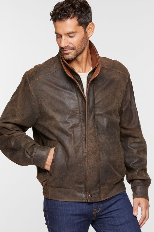 Landon Italian Lambskin Leather Bomber Jacket