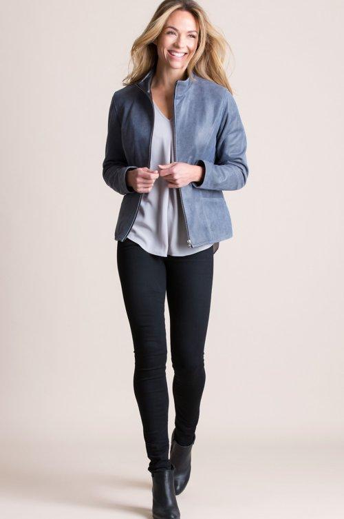 Donatella Distressed Italian Lambskin Leather Jacket