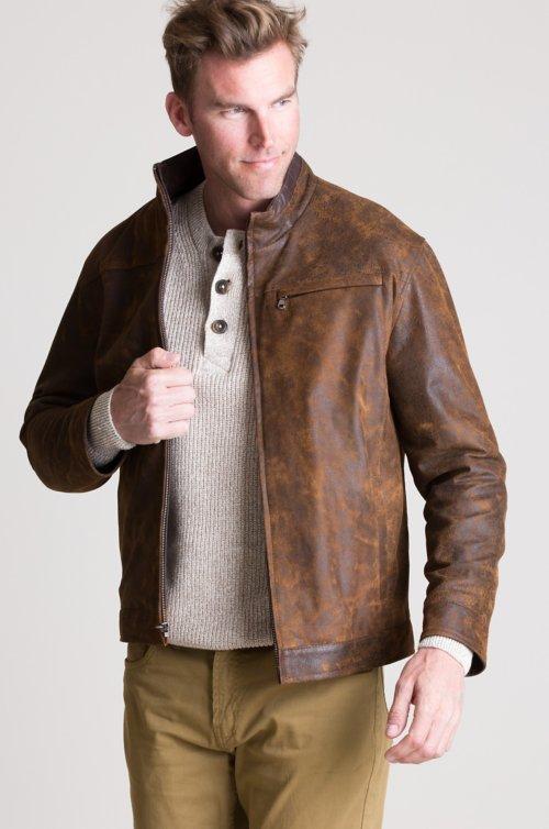 Franklin Distressed Italian Lambskin Leather Jacket