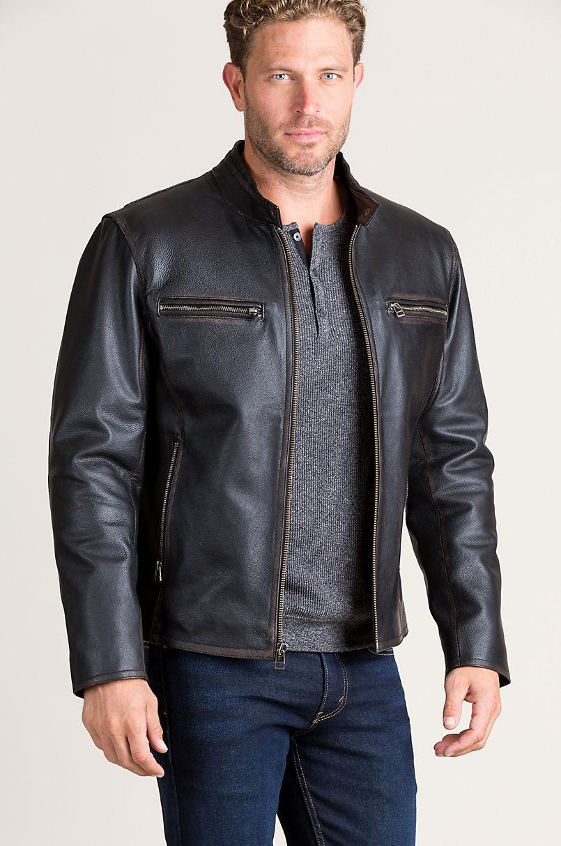 Retro Motocross Cowhide Leather Jacket