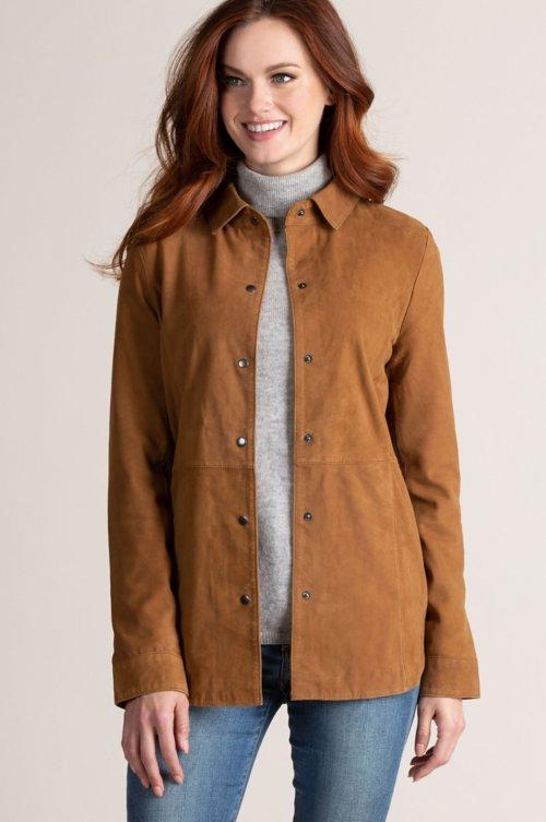 Reesa Goatskin Suede Shirt Jacket