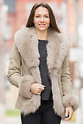 Logan Spanish Lambskin Leather Jacket with Fox Fur Trim