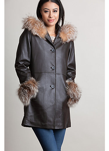 Monroe Hooded Lambskin Leather Coat with Silver Fox Fur Trim