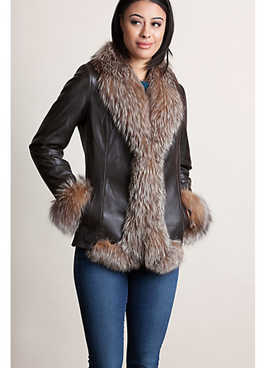 Marilyn Lambskin Leather Jacket with Crystal Fox Fur Trim