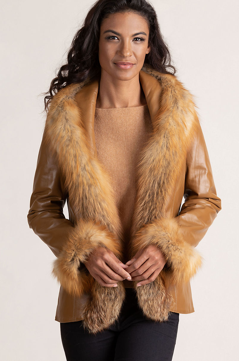 Bethany Lambskin Leather Jacket with Red Fox Fur Trim