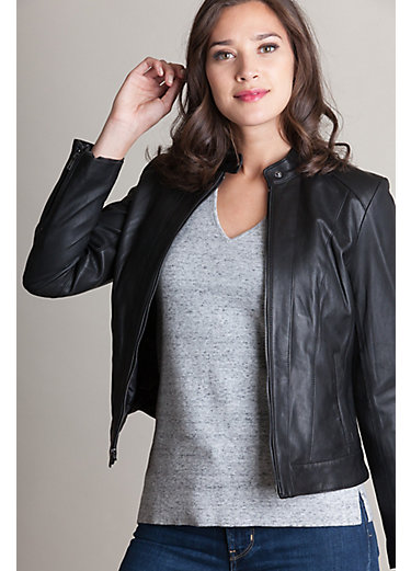 Charlotte Goatskin Leather Moto Jacket