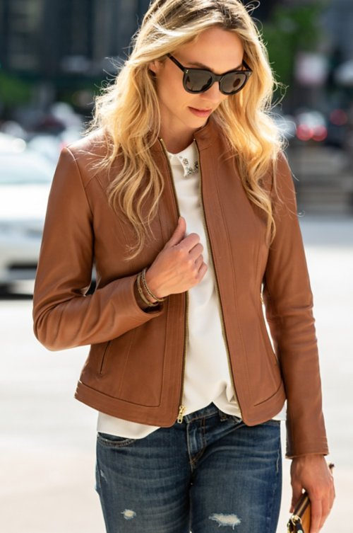 Betty New Zealand Lambskin Leather Moto Jacket