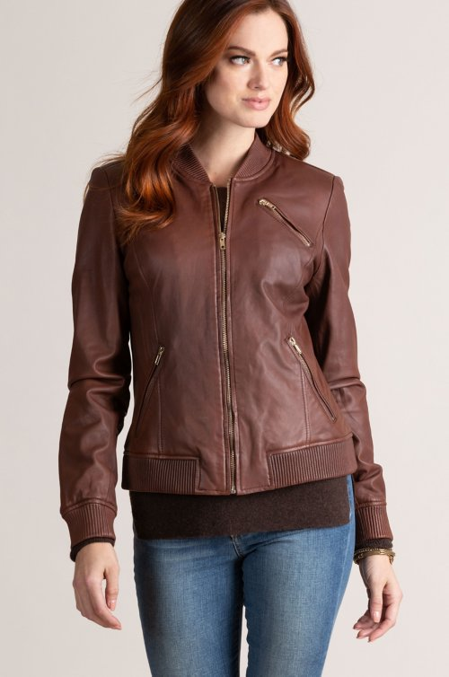 Kammy Lambskin Leather Bomber Jacket