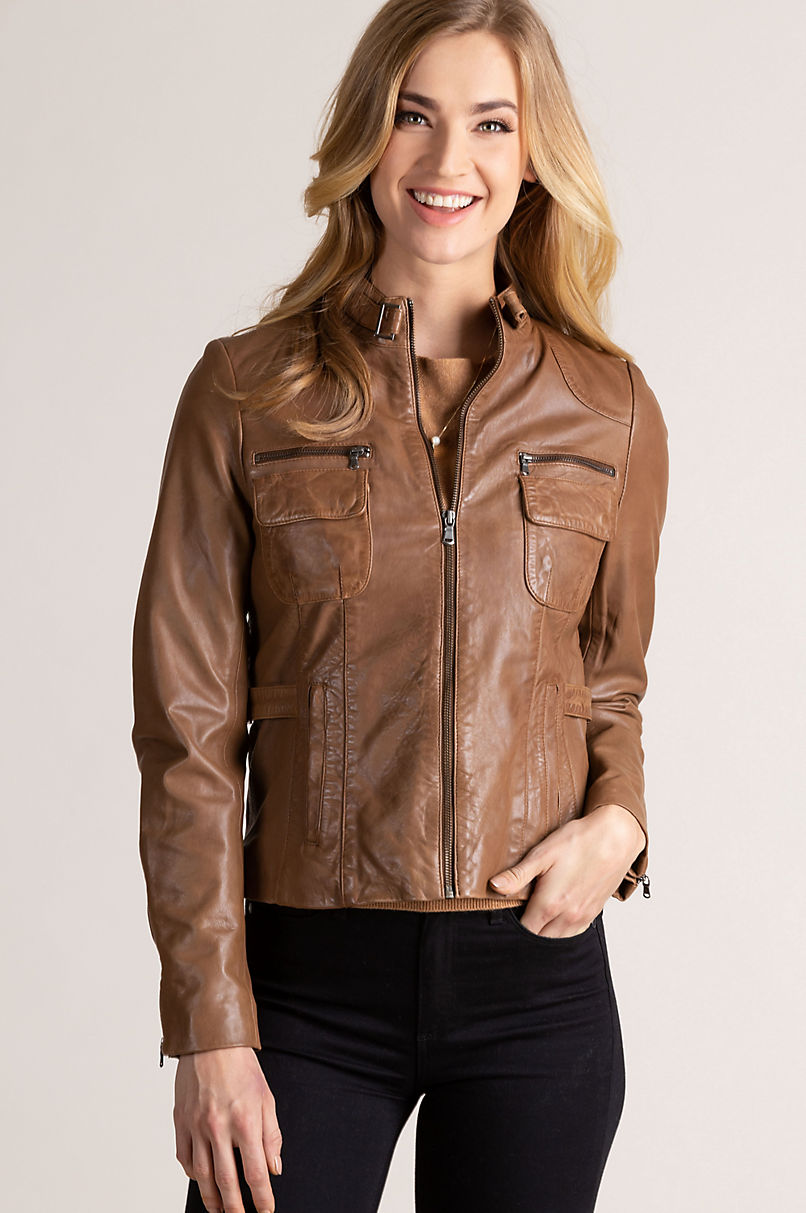 Marie Lambskin Leather Moto Jacket