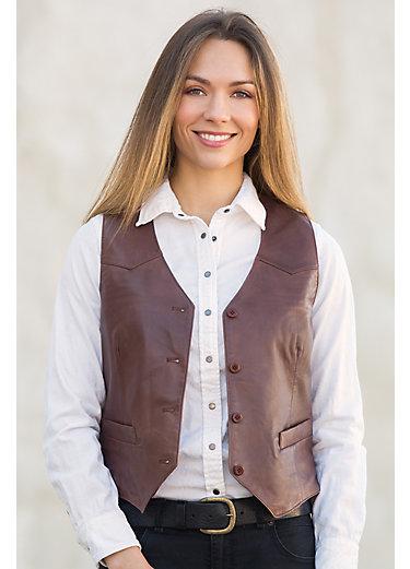 Mandy Waxed Lambskin Leather Vest