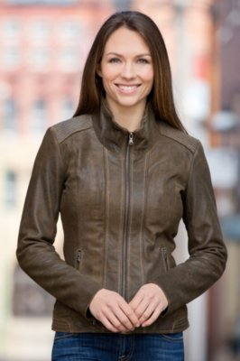 Lena Antique Lambskin Leather Jacket