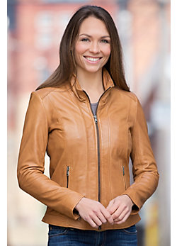 Linia Lambskin Leather Biker Jacket