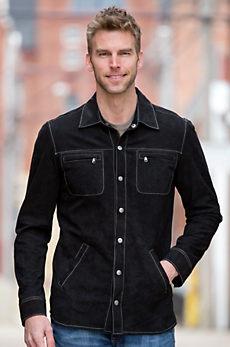 Glenn Goatskin Suede Leather Shirt Jacket