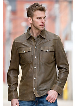 Clint Lambskin Leather Shirt Jacket