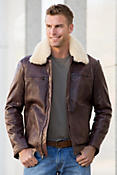 James Lambskin Leather Bomber Jacket with Removable Shearling Collar