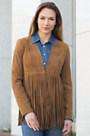 Ronni Goatskin Suede Open Leather Jacket
