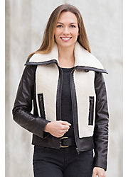 Malka Lambskin Leather Bomber Jacket with Sheepskin Trim