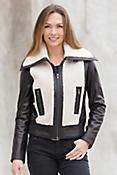 Malka Lambskin Leather Bomber Jacket with Sheepskin Trim