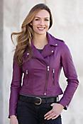 Donna Lambskin Leather Biker Jacket