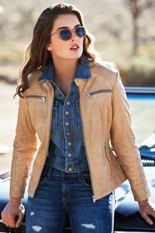 Arissa Lambskin Leather Moto Jacket