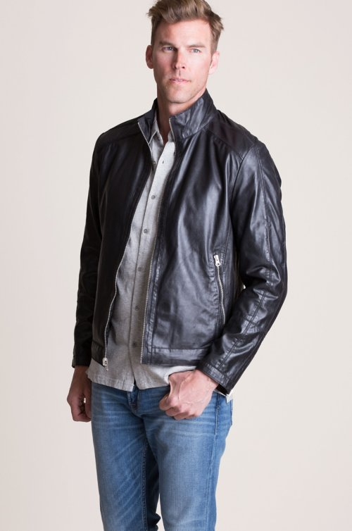 Delton Reversible Lambskin Leather Moto Jacket