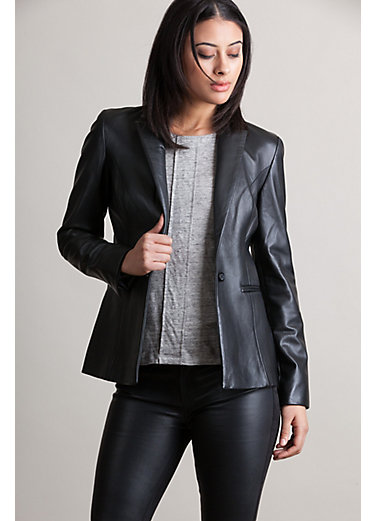 Viola Lambskin Leather Blazer