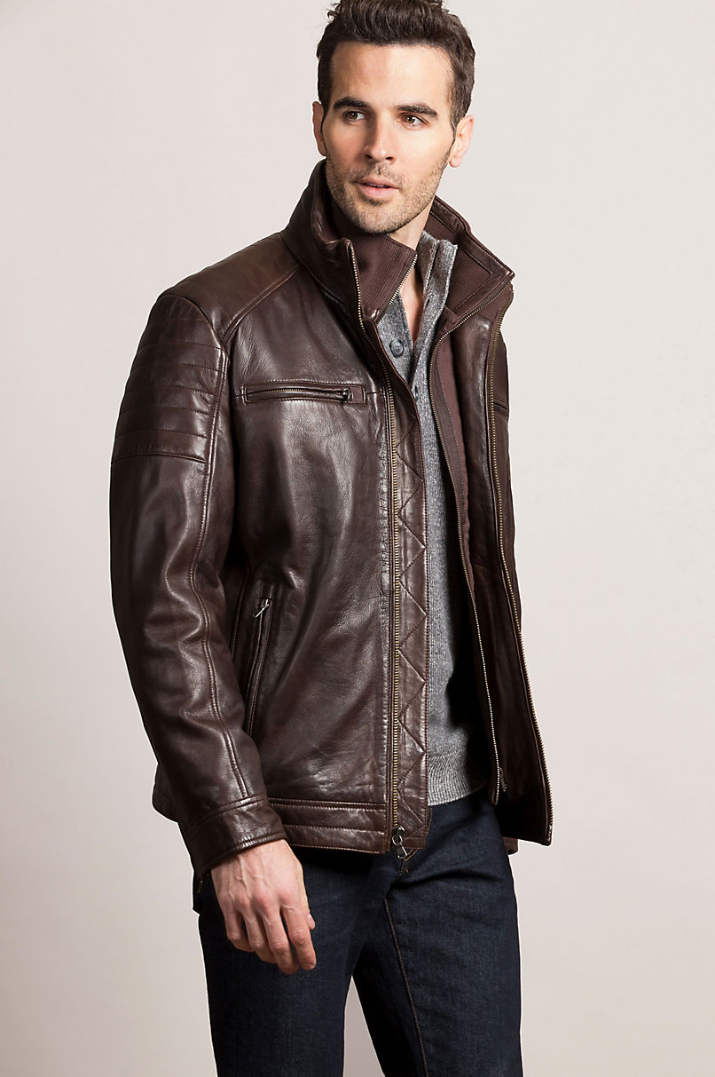 Bradley Waxed Lambskin Leather Moto Jacket