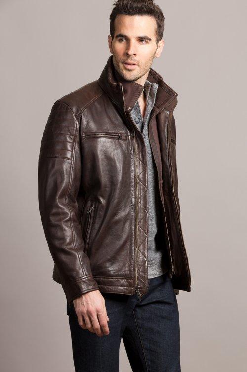 Bradley Waxed Lambskin Leather Moto Jacket