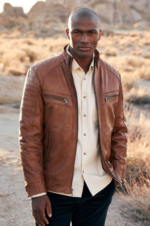 e1f8723481d Udo Waxed Lambskin Leather Moto Jacket