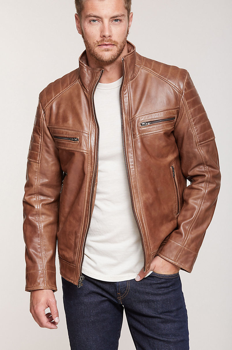 Udo Waxed Lambskin Leather Moto Jacket