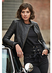 Chelsea Lambskin Leather Moto Jacket