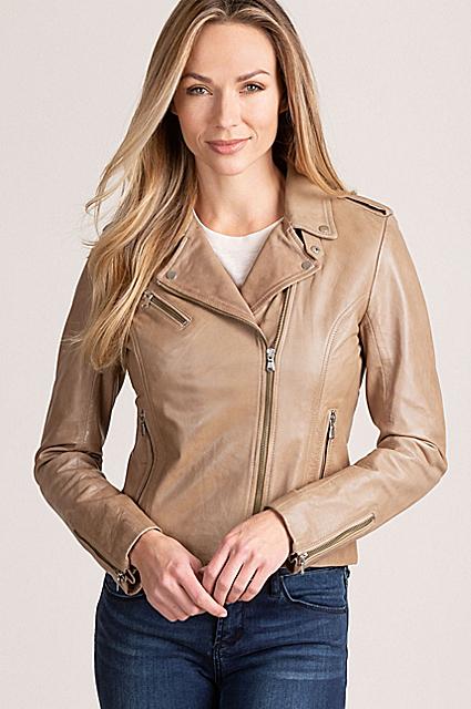 Harper Lambskin Leather Moto Jacket