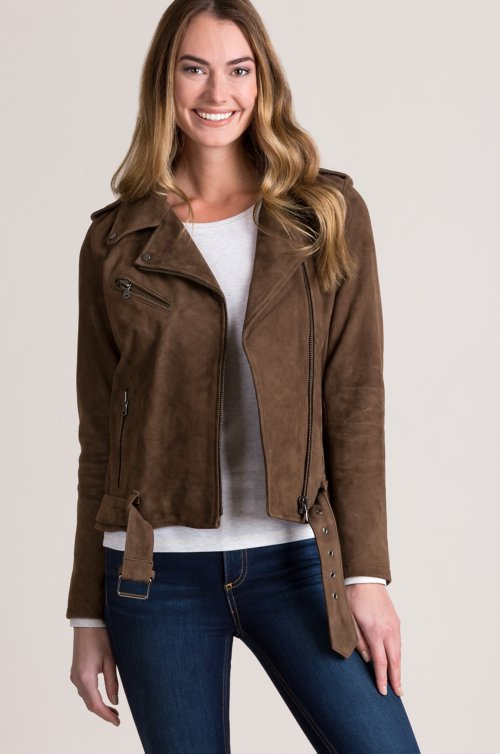 Alyssa Goatskin Suede Leather Moto Jacket