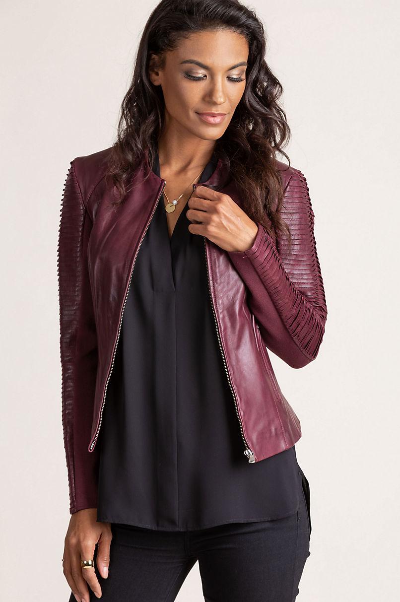 Valerie Lambskin Leather Moto Jacket