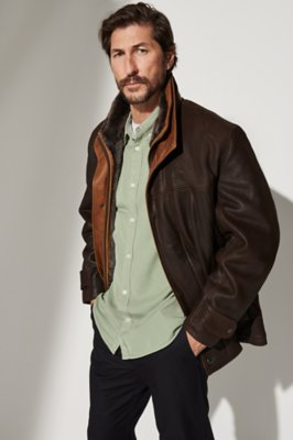 Jack Frost Leather Coat with Shearling Lining