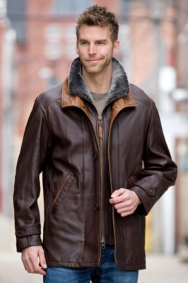 Salem Lambskin Leather Jacket with Shearling Collar