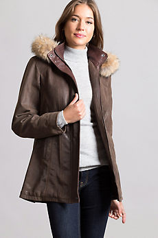 Dana English Lambskin Leather Coat with Coyote Fur Trim