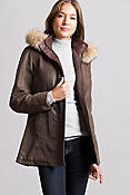Dana English Lambskin Leather Coat with Coyote Fur Trim