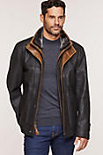 Newsboy Kildare Goatskin Leather Jacket with Removable Shearling Collar