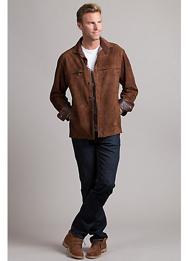Newport Lambskin Suede Leather Shirt Jacket