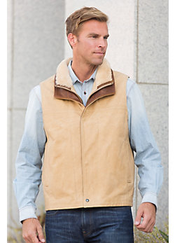 Trekker Italian Calfskin Leather Vest with Shearling Collar