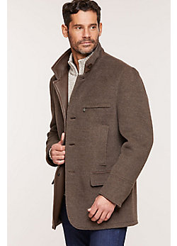 Albatross Alpaca Wool-Blend Coat with Leather Trim