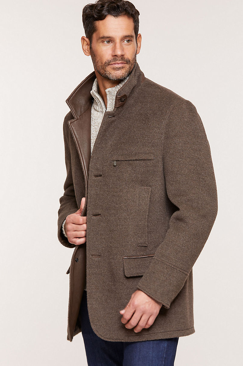Albatross Alpaca & Wool Blazer with Leather Trim