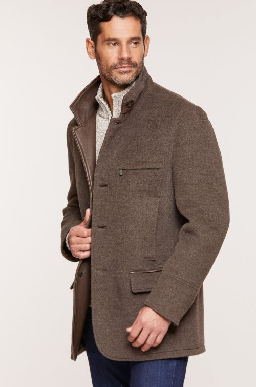 Albatross Alpaca & Wool Blazer with Leather Trim