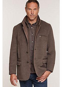 Albatross Alpaca Wool-Blend Coat with Leather Trim
