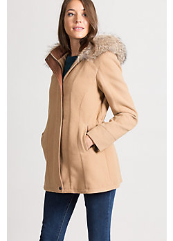 Katy Cashmere-Blend Wool Coat with Leather Trim