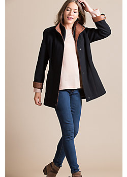Abbie Cashmere-Blend Wool Coat with Leather Trim
