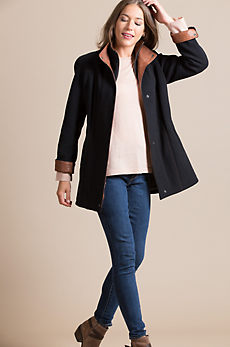 Abbie Wool & Cashmere Coat with Leather Trim