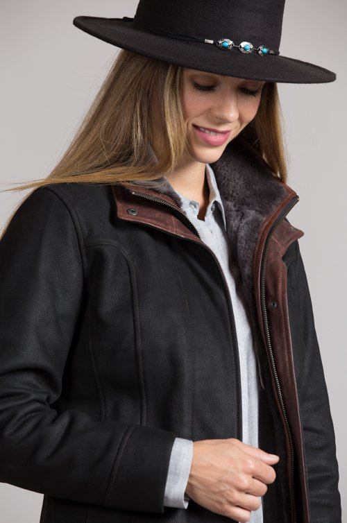 Elsa French Goatskin Leather Jacket with Merino Shearling Lining
