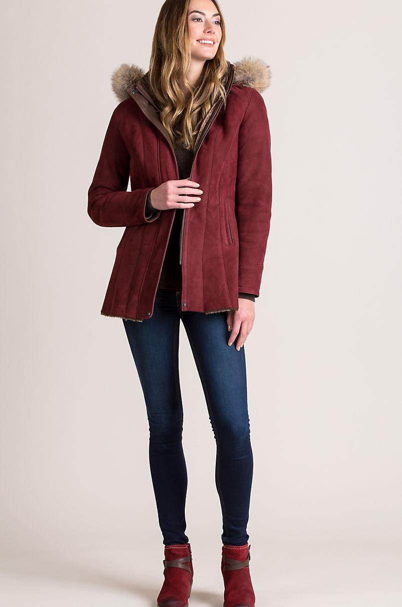 Sarah Hooded Spanish Merino Shearling Sheepskin Jacket